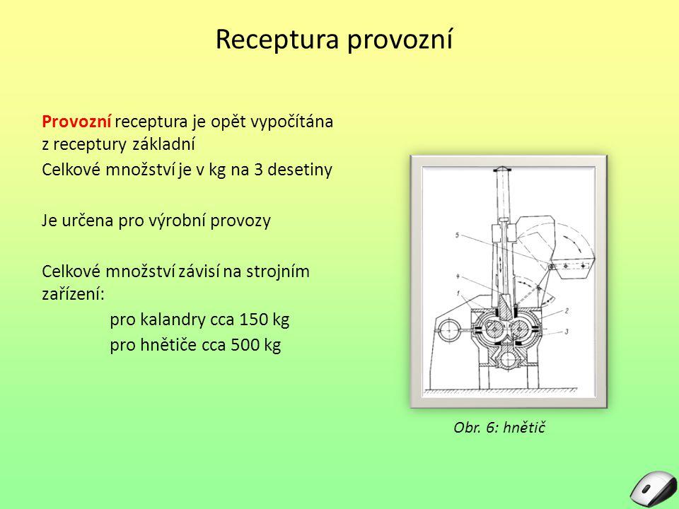Receptura provozní Provozní receptura je opět vypočítána z receptury základní Celkové množství je v kg na 3 desetiny Je určena pro výrobní provozy Cel
