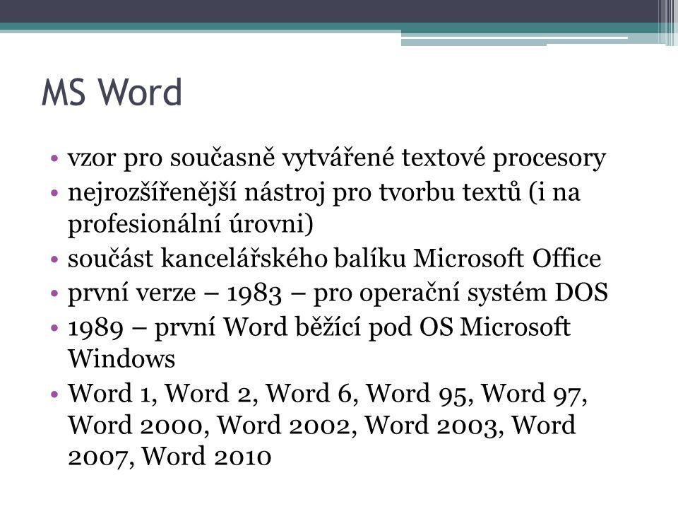 MS Word vzor pro současně vytvářené textové procesory nejrozšířenější nástroj pro tvorbu textů (i na profesionální úrovni) součást kancelářského balíku Microsoft Office první verze – 1983 – pro operační systém DOS 1989 – první Word běžící pod OS Microsoft Windows Word 1, Word 2, Word 6, Word 95, Word 97, Word 2000, Word 2002, Word 2003, Word 2007, Word 2010