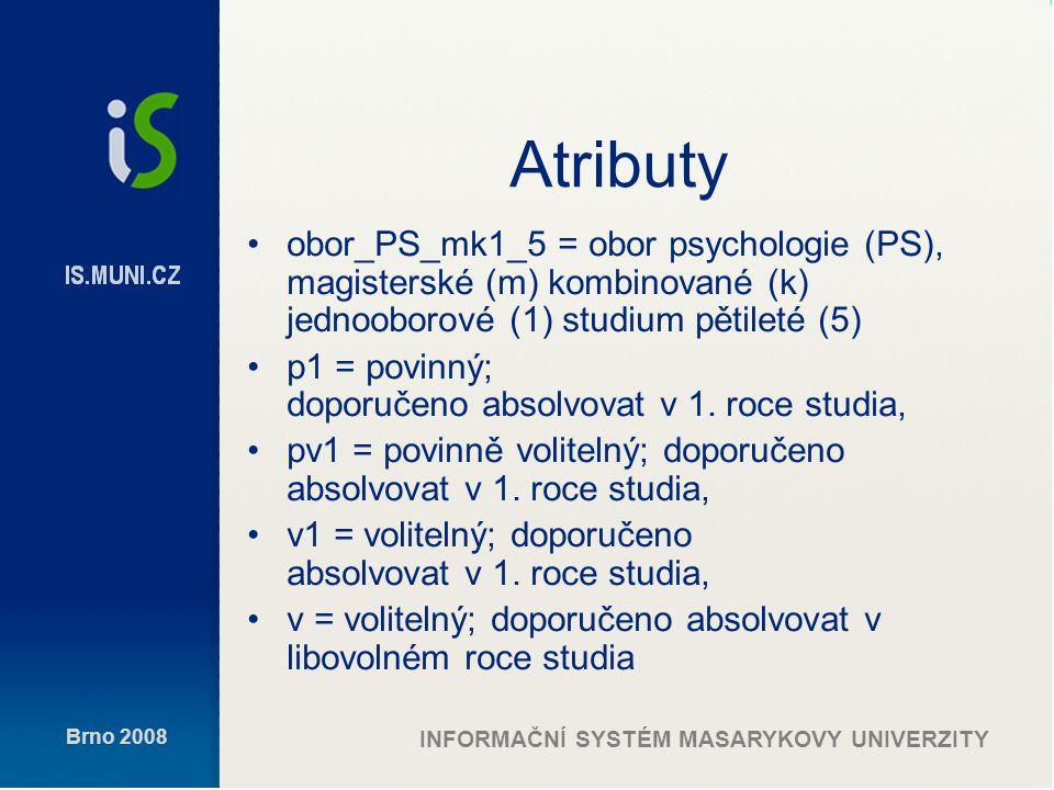 Brno 2008 INFORMAČNÍ SYSTÉM MASARYKOVY UNIVERZITY Atributy obor_PS_mk1_5 = obor psychologie (PS), magisterské (m) kombinované (k) jednooborové (1) studium pětileté (5) p1 = povinný; doporučeno absolvovat v 1.