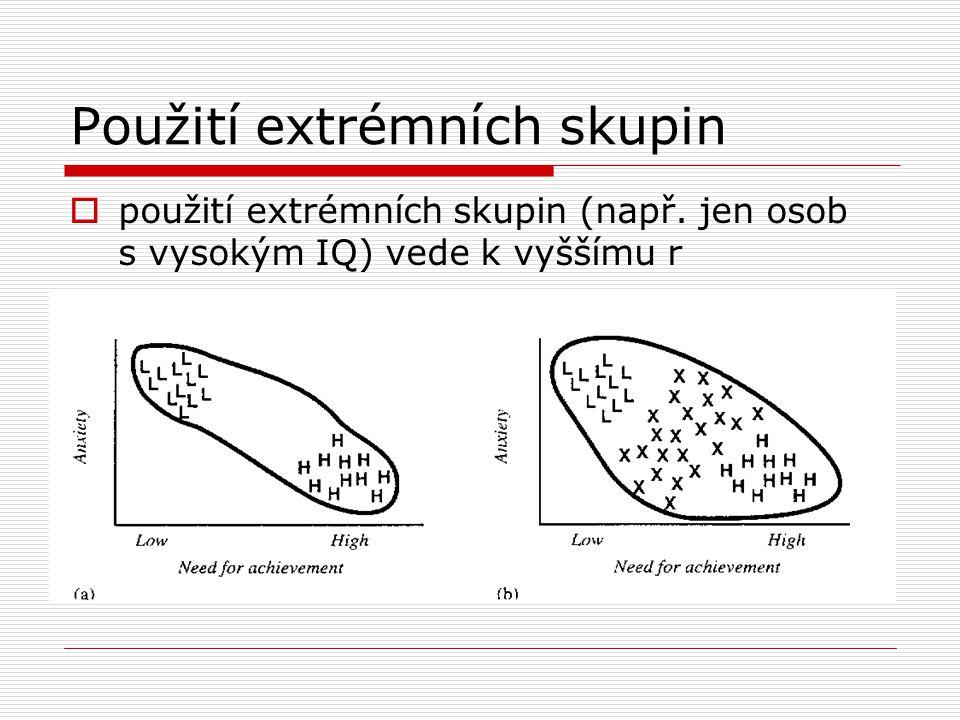 Použití extrémních skupin  použití extrémních skupin (např.