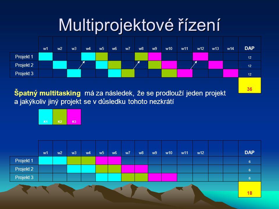 Multiprojektové řízení w1w2w3w4w5w6w7w8w9w10w11w12w13w14 DAP Projekt 1 12 Projekt 2 12 Projekt 3 12 36 K1K2K3 w1w2w3w4w5w6w7w8w9w10w11w12 DAP Projekt