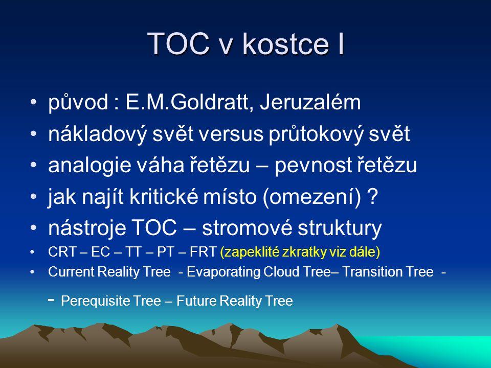 TOC v kostce II kritickým místem neboli omezením při řízení projektů je kritická cesta zjištění kritického místa není jednoduché a výsledky nemusí být jednoznačné všichni o TOC ví a přitom málokdo ví jak se tato teorie uvádí do praxe – což opět omezení (Achillova šlacha od paty až k zátylku) Poznámka : možnost doplnit tuto prezentaci následně