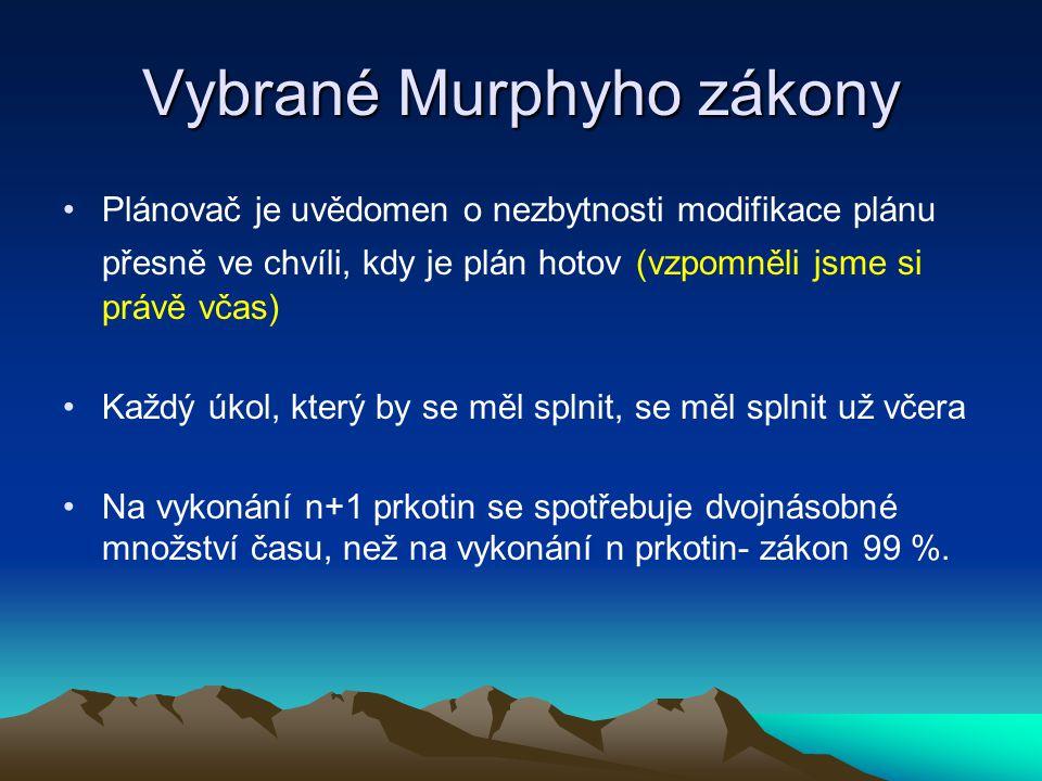 Vybrané Murphyho zákony Plánovač je uvědomen o nezbytnosti modifikace plánu přesně ve chvíli, kdy je plán hotov (vzpomněli jsme si právě včas) Každý ú