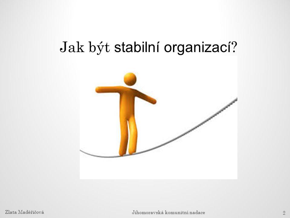 Jak být stabilní organizací vztahů 2 Zlata Maděřičová Jihomoravská komunitní nadace
