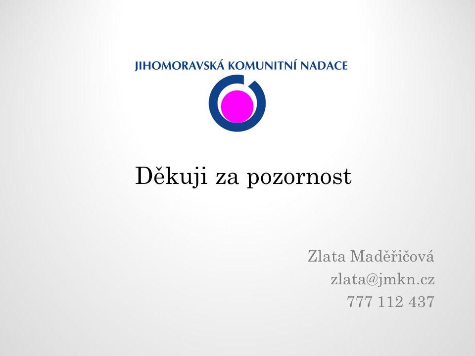 Děkuji za pozornost Zlata Maděřičová zlata@jmkn.cz 777 112 437