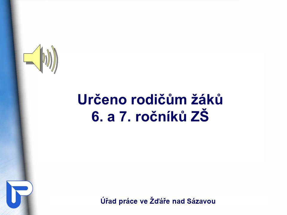 Určeno rodičům žáků 6. a 7. ročníků ZŠ Úřad práce ve Žďáře nad Sázavou