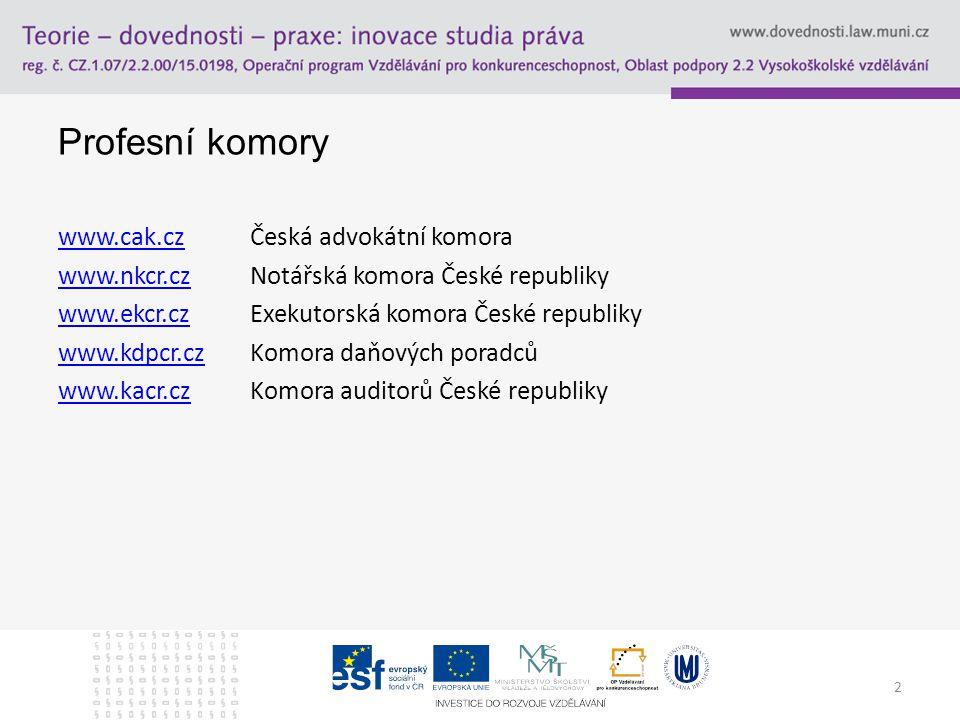2 Profesní komory www.cak.czwww.cak.czČeská advokátní komora www.nkcr.czwww.nkcr.czNotářská komora České republiky www.ekcr.czwww.ekcr.czExekutorská komora České republiky www.kdpcr.czwww.kdpcr.czKomora daňových poradců www.kacr.czwww.kacr.czKomora auditorů České republiky
