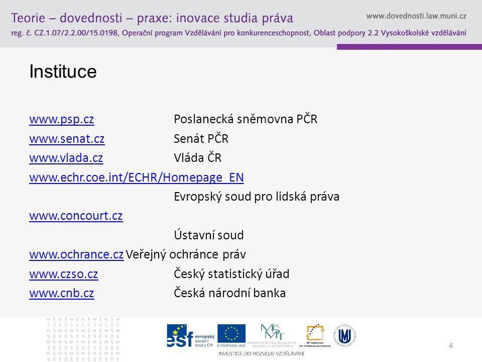 4 Instituce www.psp.czwww.psp.czPoslanecká sněmovna PČR www.senat.czwww.senat.czSenát PČR www.vlada.czwww.vlada.czVláda ČR www.echr.coe.int/ECHR/Homepage_EN Evropský soud pro lidská práva www.concourt.cz Ústavní soud www.ochrance.czwww.ochrance.czVeřejný ochránce práv www.czso.czwww.czso.czČeský statistický úřad www.cnb.czwww.cnb.czČeská národní banka