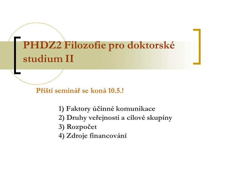 PHDZ2 Filozofie pro doktorské studium II Příští seminář se koná 10.5..