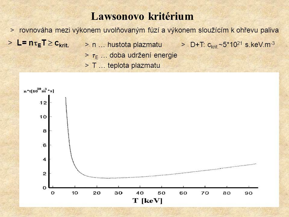 Lawsonovo kritérium >rovnováha mezi výkonem uvolňovaným fúzí a výkonem sloužícím k ohřevu paliva >L= n  E T  c krit. >n … hustota plazmatu >  E … d