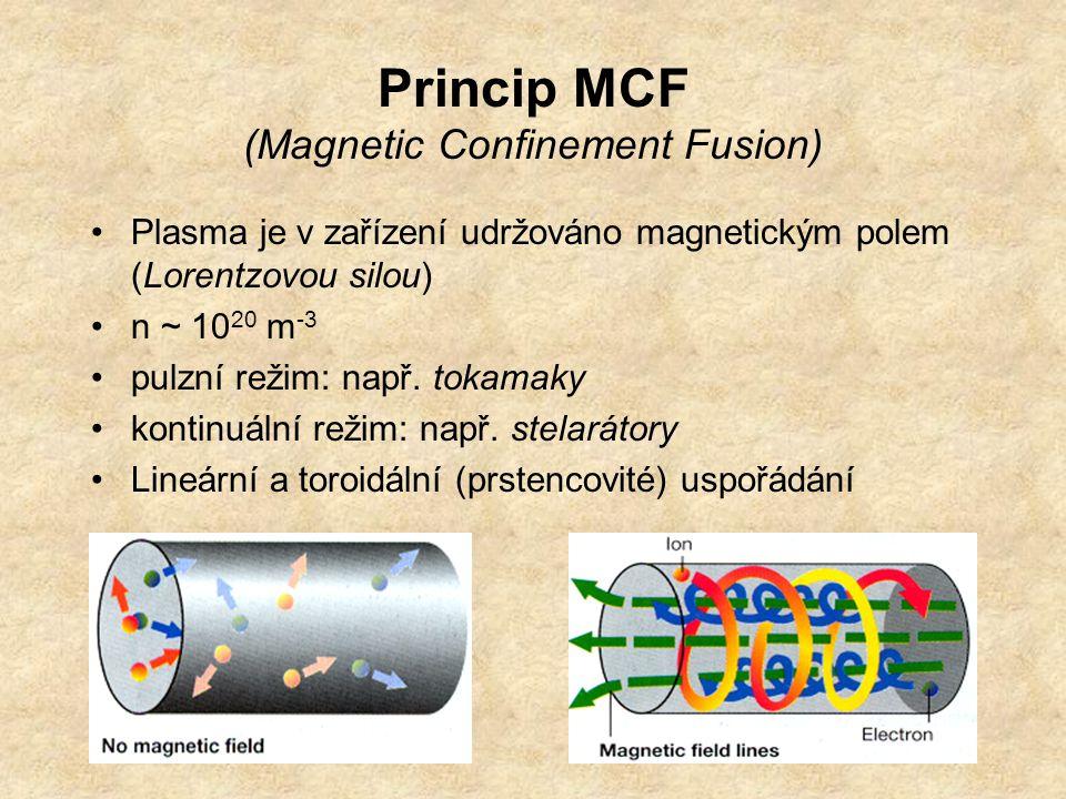 Princip MCF (Magnetic Confinement Fusion) Plasma je v zařízení udržováno magnetickým polem (Lorentzovou silou) n ~ 10 20 m -3 pulzní režim: např. toka
