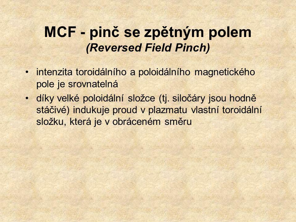 MCF - pinč se zpětným polem (Reversed Field Pinch) intenzita toroidálního a poloidálního magnetického pole je srovnatelná díky velké poloidální složce