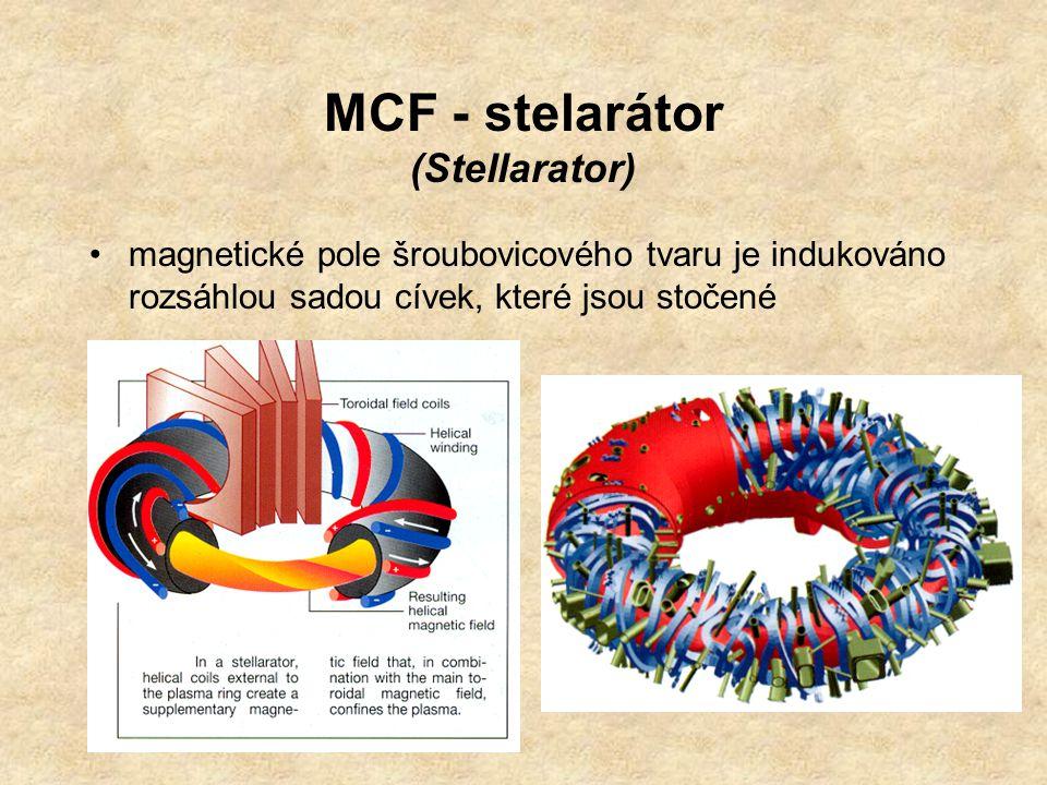 MCF - stelarátor (Stellarator) magnetické pole šroubovicového tvaru je indukováno rozsáhlou sadou cívek, které jsou stočené