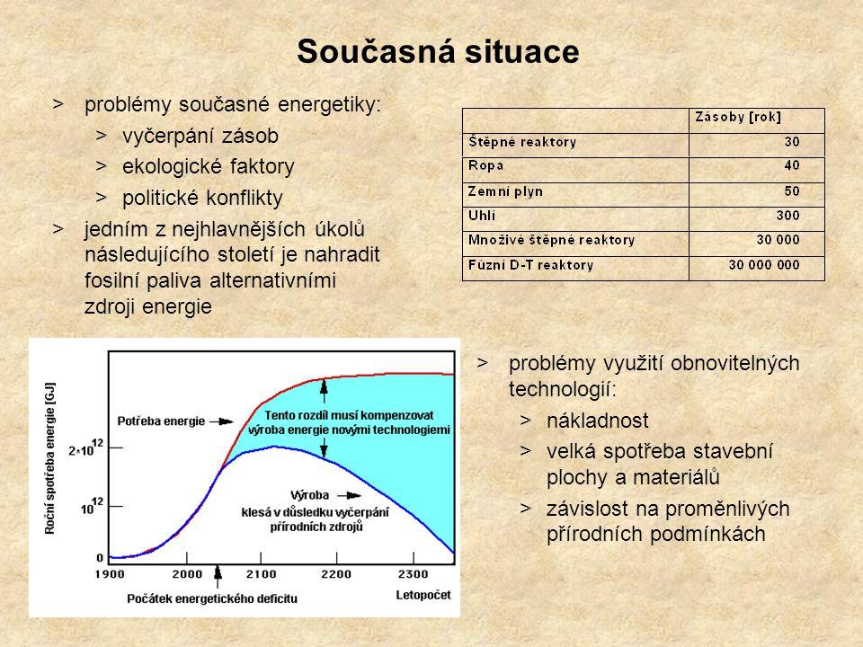 >dlouhodobá využitelnost: >palivo je hojně a rovnoměrně rozloženo v prakticky nevyčerpatelném množství >efektivita při menších objemech paliva >jaderné reakce mají o 7 řádů větší energetický výtěžek než má spalování libovolného paliva Výhody termonukleární fúze Termojaderná fúze je jednou z možných náhrad za fosilní paliva, nabízející bezpečný a k životnímu prostředí šetrný prostředek výroby energie.