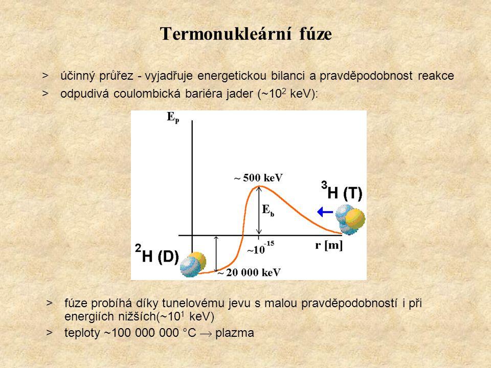 Termonukleární fúze >účinný průřez - vyjadřuje energetickou bilanci a pravděpodobnost reakce >odpudivá coulombická bariéra jader (~10 2 keV): >fúze pr
