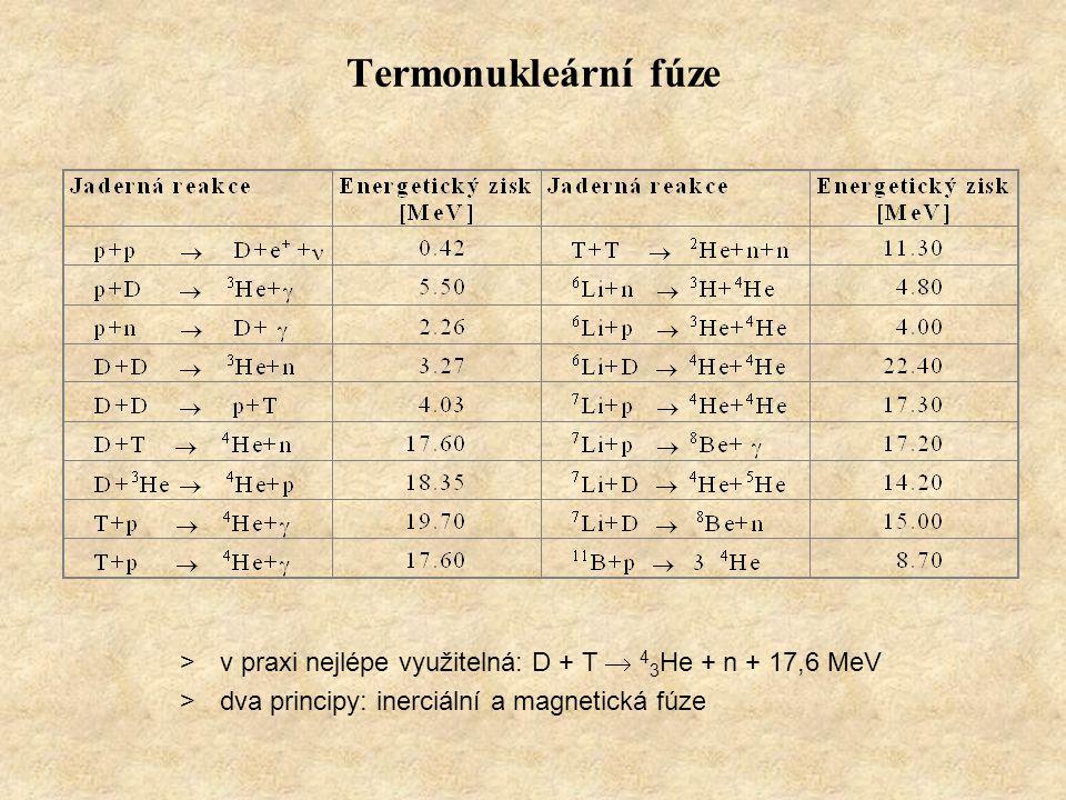 Termonukleární fúze >v praxi nejlépe využitelná: D + T  4 3 He + n + 17,6 MeV >dva principy: inerciální a magnetická fúze