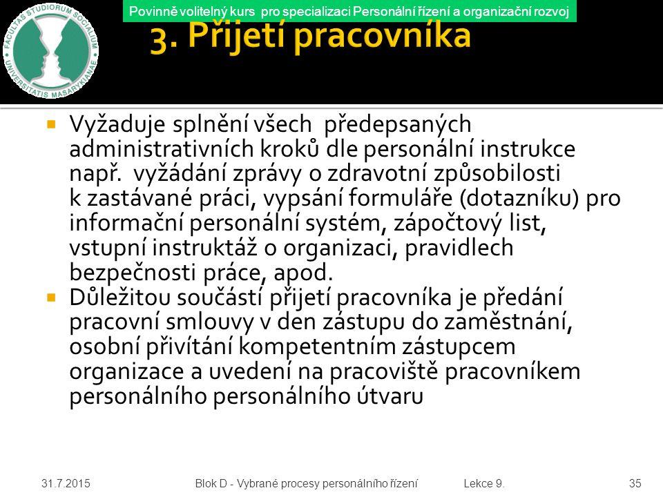 Povinně volitelný kurs pro specializaci Personální řízení a organizační rozvoj 3.