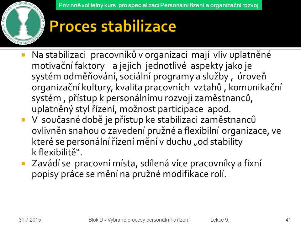 Povinně volitelný kurs pro specializaci Personální řízení a organizační rozvoj O procesu stabilizace zaměstnanců hovoříme v souvislosti s efektivním hospodařením s lidskými zdroji.