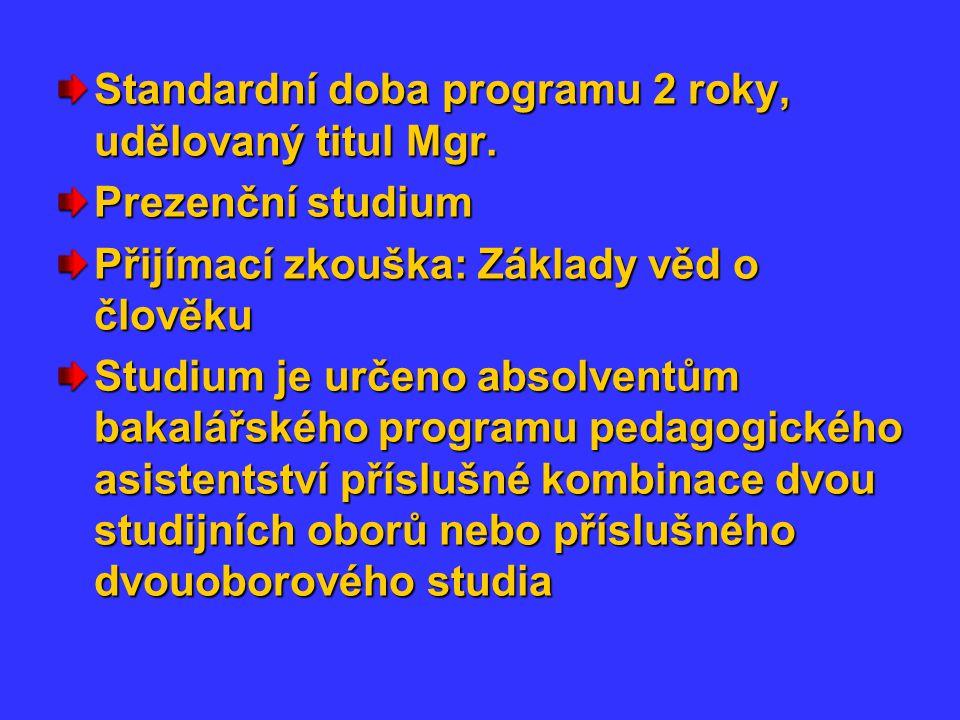 Standardní doba programu 2 roky, udělovaný titul Mgr.