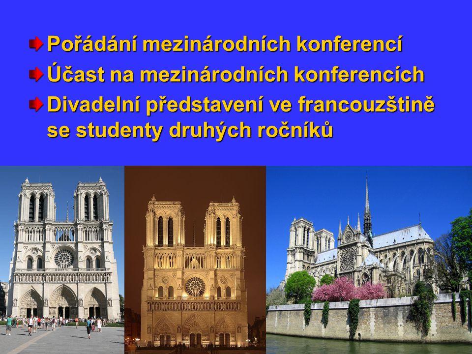Pořádání mezinárodních konferencí Účast na mezinárodních konferencích Divadelní představení ve francouzštině se studenty druhých ročníků