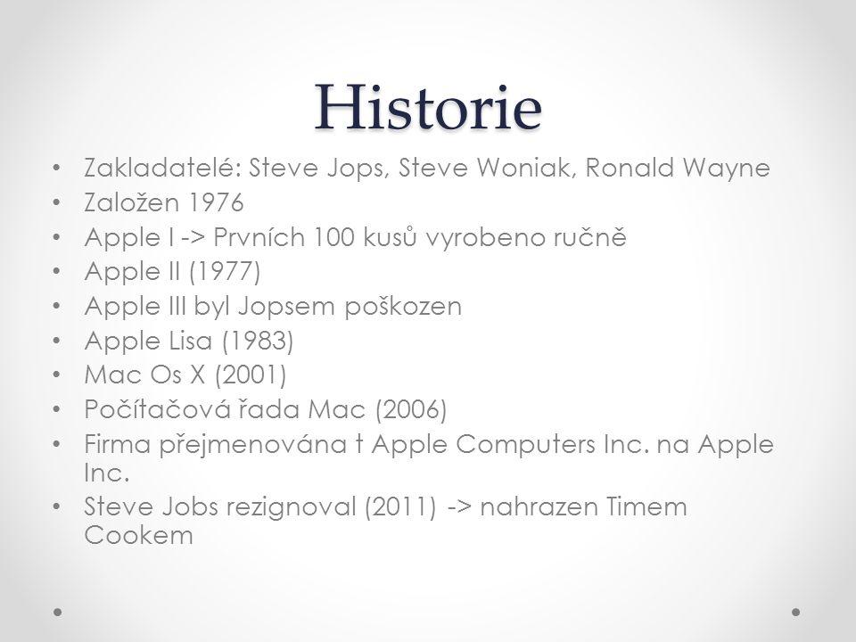 Historie Zakladatelé: Steve Jops, Steve Woniak, Ronald Wayne Založen 1976 Apple I -> Prvních 100 kusů vyrobeno ručně Apple II (1977) Apple III byl Jop