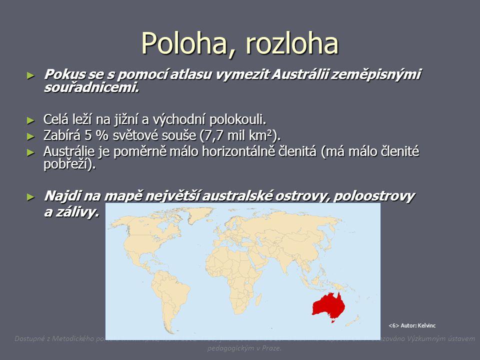 Poloha, rozloha ► Pokus se s pomocí atlasu vymezit Austrálii zeměpisnými souřadnicemi. ► Celá leží na jižní a východní polokouli. ► Zabírá 5 % světové