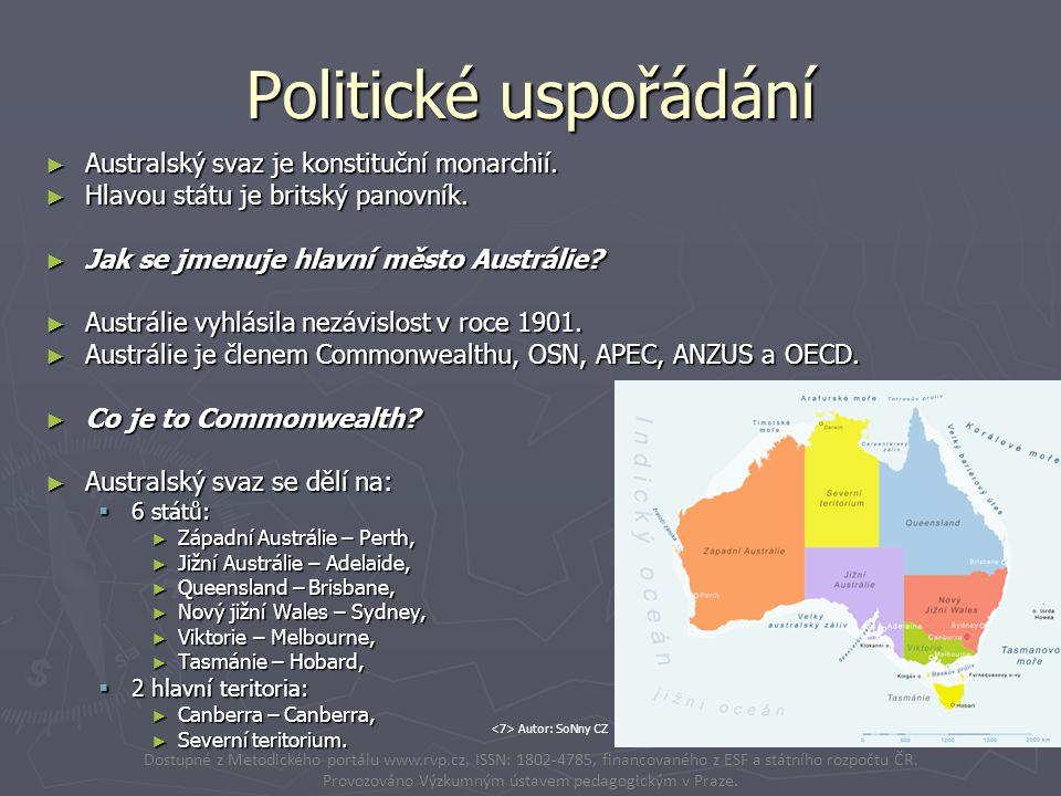 Politické uspořádání ► Australský svaz je konstituční monarchií. ► Hlavou státu je britský panovník. ► Jak se jmenuje hlavní město Austrálie? ► Austrá