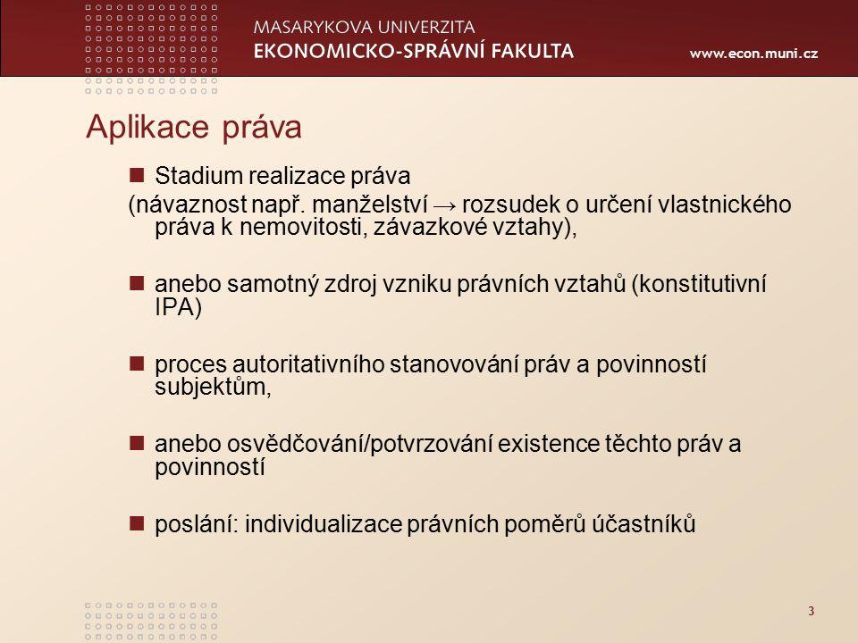 www.econ.muni.cz 3 Aplikace práva Stadium realizace práva (návaznost např. manželství → rozsudek o určení vlastnického práva k nemovitosti, závazkové