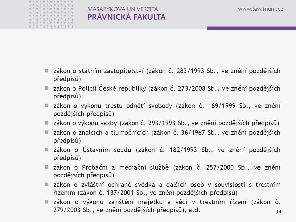 www.law.muni.cz zákon o státním zastupitelství (zákon č. 283/1993 Sb., ve znění pozdějších předpisů) zákon o Policii České republiky (zákon č. 273/200