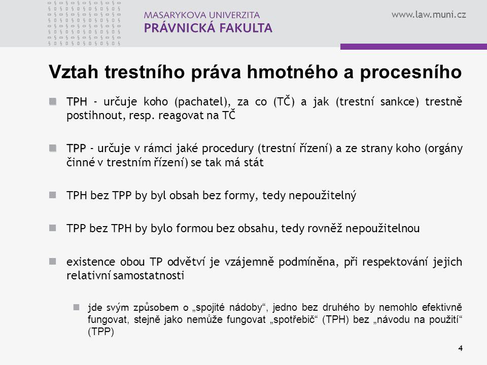 www.law.muni.cz Vztah trestního práva hmotného a procesního TPH TPH - určuje koho (pachatel), za co (TČ) a jak (trestní sankce) trestně postihnout, re