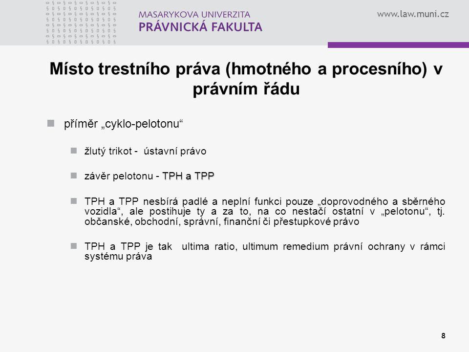 www.law.muni.cz Vnitrostátní prameny TPP zákonné prameny TPP je právo výlučně zákonné, obsažené může být jen v zákonech; TrŘ, ZSM; ZTOPO, čl.