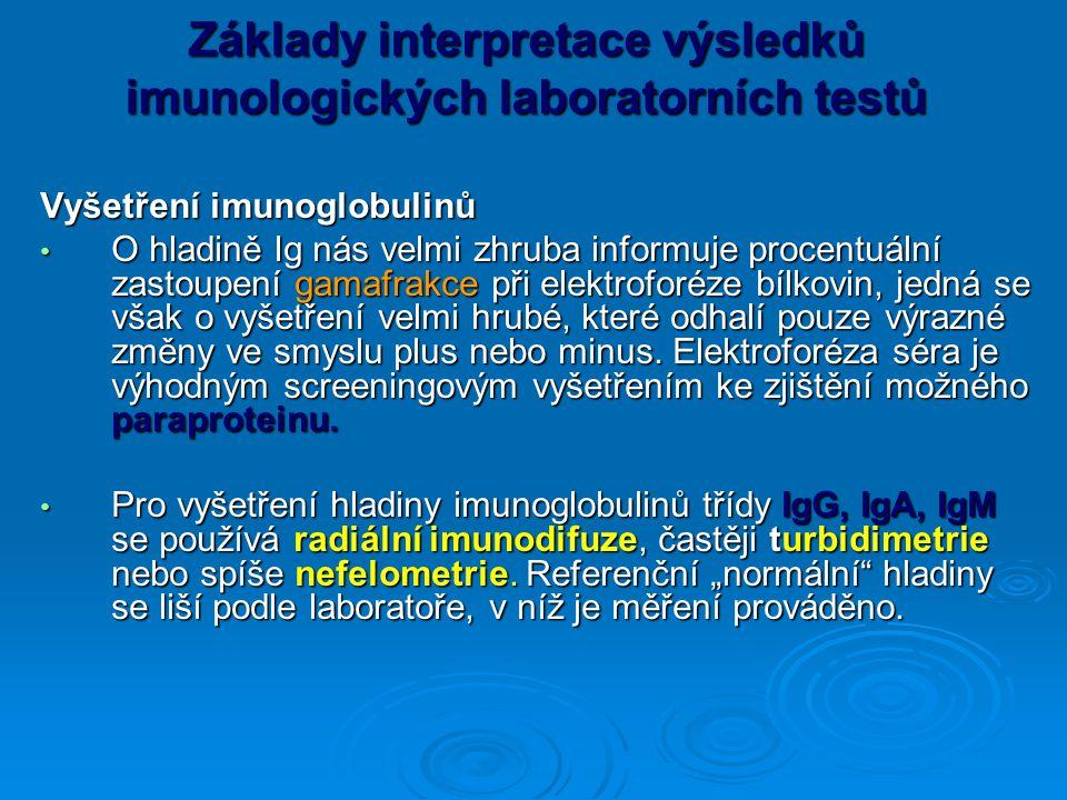 Základy interpretace výsledků imunologických laboratorních testů Vyšetření imunoglobulinů O hladině Ig nás velmi zhruba informuje procentuální zastoupení gamafrakce při elektroforéze bílkovin, jedná se však o vyšetření velmi hrubé, které odhalí pouze výrazné změny ve smyslu plus nebo minus.