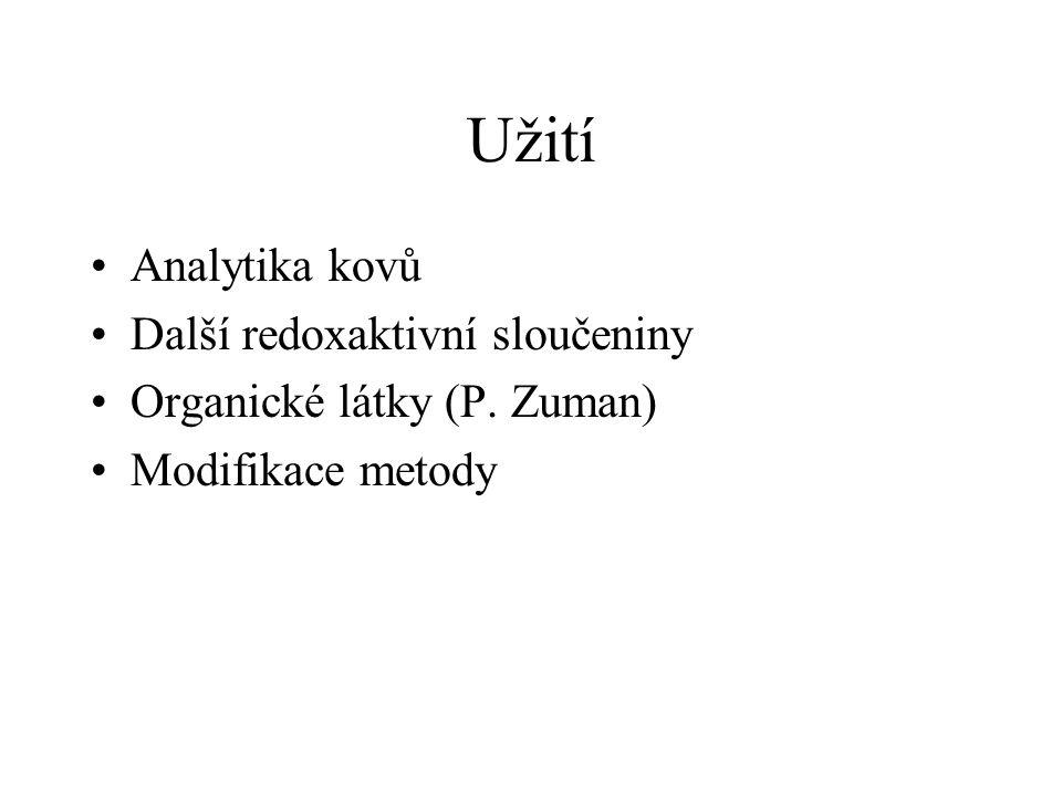 Užití Analytika kovů Další redoxaktivní sloučeniny Organické látky (P. Zuman) Modifikace metody