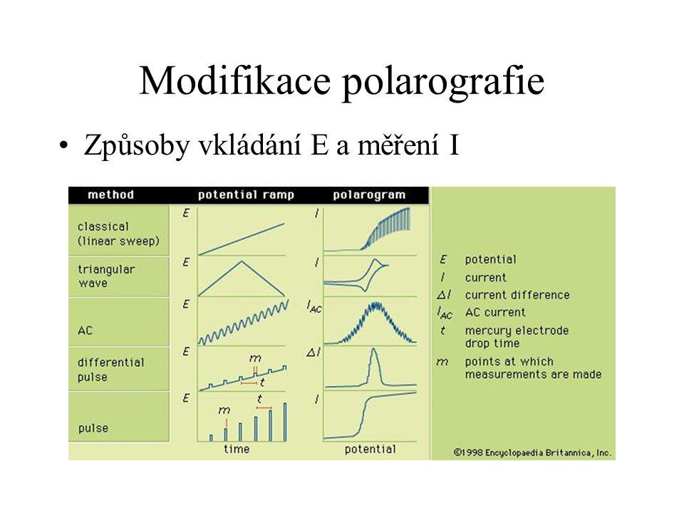 Modifikace polarografie Způsoby vkládání E a měření I