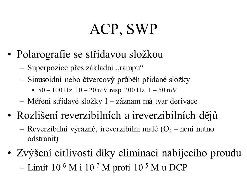 """ACP, SWP Polarografie se střídavou složkou –Superpozice přes základní """"rampu"""" –Sinusoidní nebo čtvercový průběh přidané složky 50 – 100 Hz, 10 – 20 mV"""