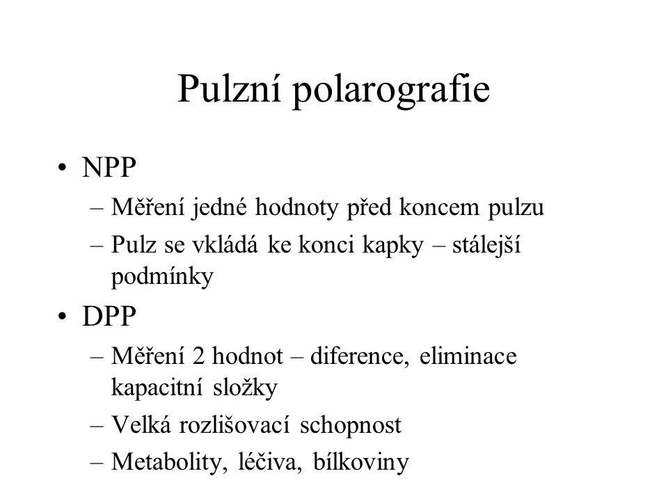 Pulzní polarografie NPP –Měření jedné hodnoty před koncem pulzu –Pulz se vkládá ke konci kapky – stálejší podmínky DPP –Měření 2 hodnot – diference, e