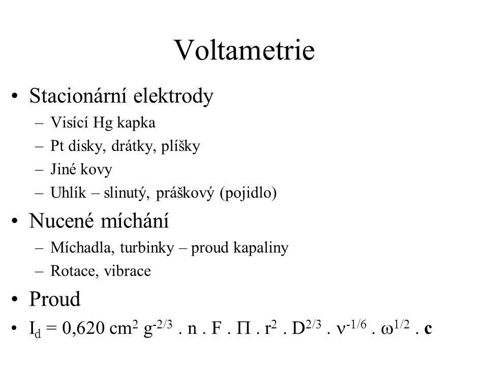 Voltametrie Stacionární elektrody –Visící Hg kapka –Pt disky, drátky, plíšky –Jiné kovy –Uhlík – slinutý, práškový (pojidlo) Nucené míchání –Míchadla,