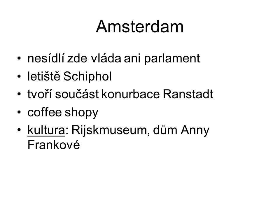 Amsterdam nesídlí zde vláda ani parlament letiště Schiphol tvoří součást konurbace Ranstadt coffee shopy kultura: Rijskmuseum, dům Anny Frankové