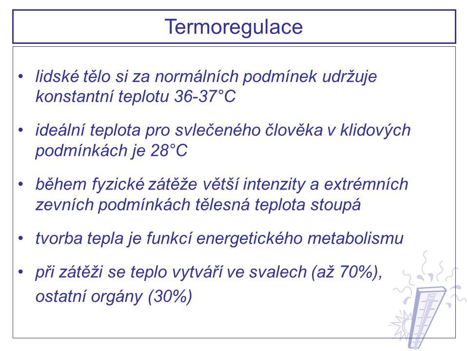 termoregulace nastupuje až po přestoupení hranic teplotní pohody, termoreceptory centrálním orgánem, který reguluje tělesnou teplotu a funguje jako termostat, je hypotalamus osmoreceptory uložené v hypotalamu také stimulují pocit žízně je důležité, aby člověk při zátěži soustavně pil malé dávky nápoje dříve než dostane žízeň Termoregulace: Termostat