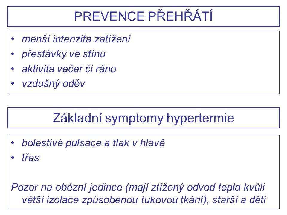 menší intenzita zatížení přestávky ve stínu aktivita večer či ráno vzdušný oděv PREVENCE PŘEHŘÁTÍ Základní symptomy hypertermie bolestivé pulsace a tl