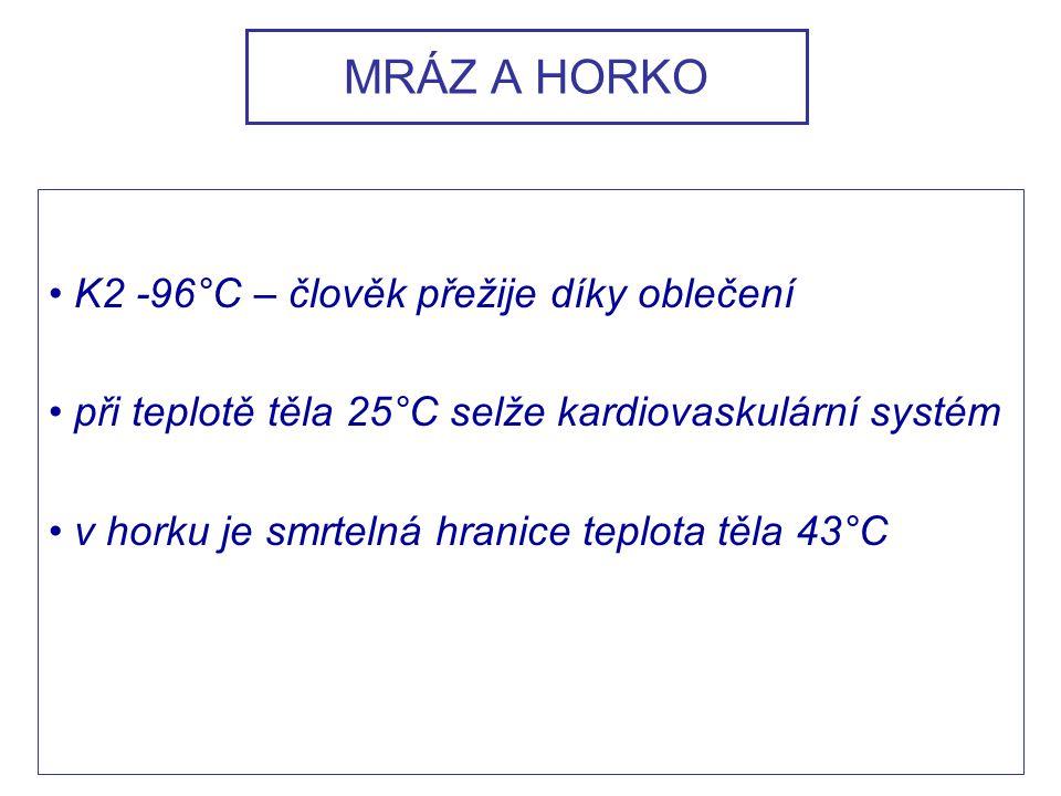 MRÁZ A HORKO K2 -96°C – člověk přežije díky oblečení při teplotě těla 25°C selže kardiovaskulární systém v horku je smrtelná hranice teplota těla 43°C