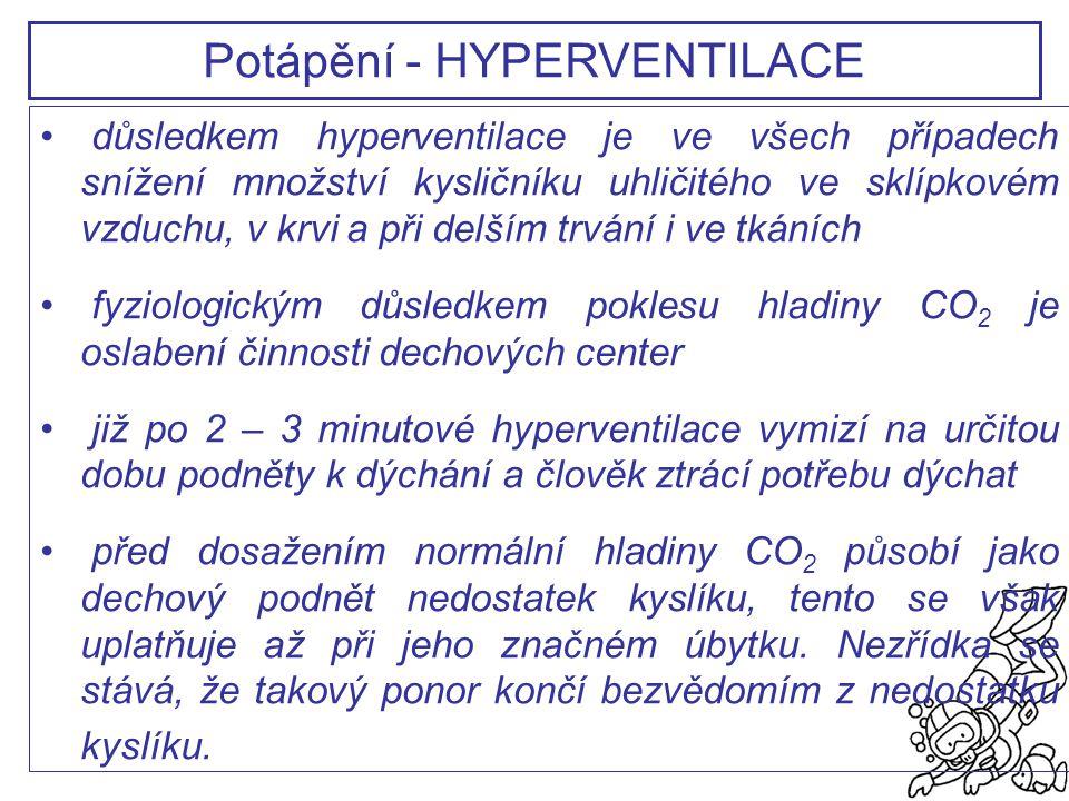 důsledkem hyperventilace je ve všech případech snížení množství kysličníku uhličitého ve sklípkovém vzduchu, v krvi a při delším trvání i ve tkáních f