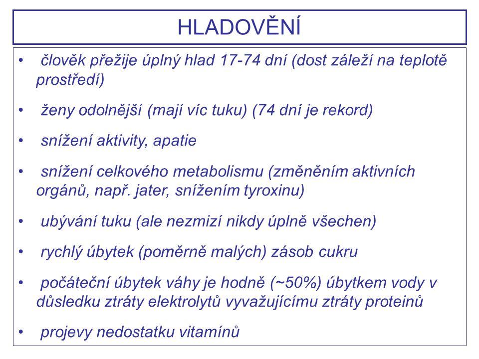 člověk přežije úplný hlad 17-74 dní (dost záleží na teplotě prostředí) ženy odolnější (mají víc tuku) (74 dní je rekord) snížení aktivity, apatie sníž
