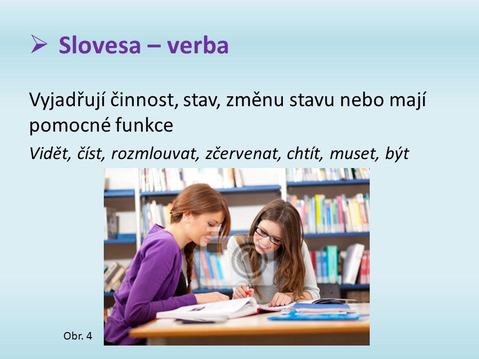  Slovesa – verba Vyjadřují činnost, stav, změnu stavu nebo mají pomocné funkce Vidět, číst, rozmlouvat, zčervenat, chtít, muset, být Obr. 4