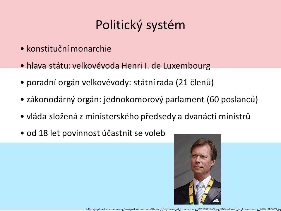 Politický systém konstituční monarchie hlava státu: velkovévoda Henri I. de Luxembourg poradní orgán velkovévody: státní rada (21 členů) zákonodárný o