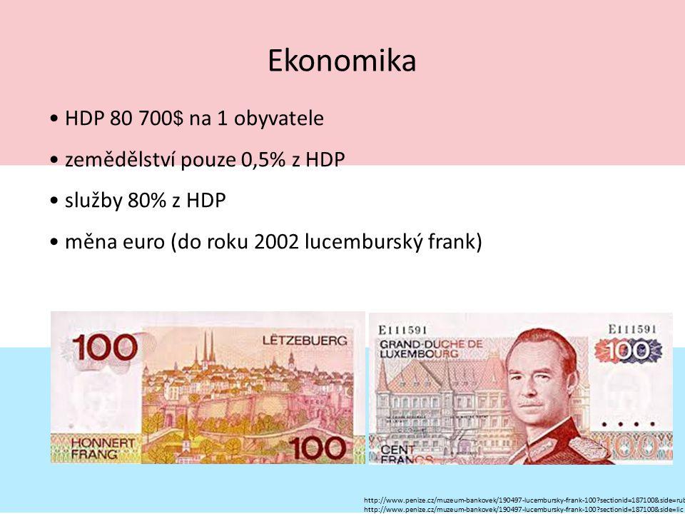 Ekonomika HDP 80 700 $ na 1 obyvatele zemědělství pouze 0,5% z HDP služby 80% z HDP měna euro (do roku 2002 lucemburský frank) http://www.penize.cz/mu