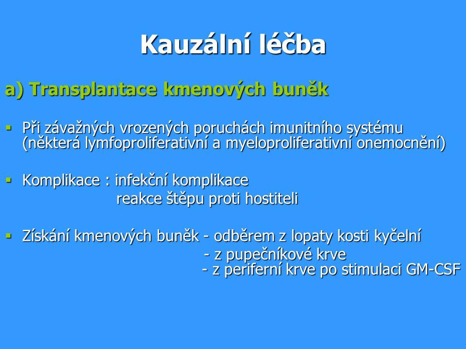 Kauzální léčba a) Transplantace kmenových buněk  Při závažných vrozených poruchách imunitního systému (některá lymfoproliferativní a myeloproliferativní onemocnění)  Komplikace : infekční komplikace reakce štěpu proti hostiteli reakce štěpu proti hostiteli  Získání kmenových buněk - odběrem z lopaty kosti kyčelní - z pupečníkové krve - z periferní krve po stimulaci GM-CSF - z pupečníkové krve - z periferní krve po stimulaci GM-CSF