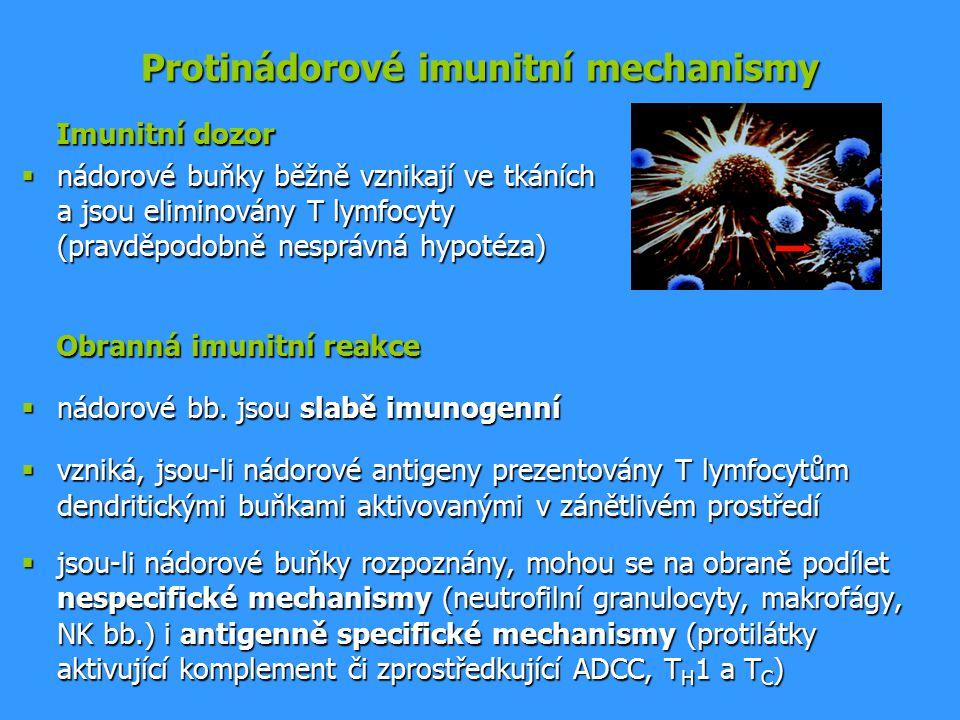 Protinádorové imunitní mechanismy Imunitní dozor Imunitní dozor  nádorové buňky běžně vznikají ve tkáních a jsou eliminovány T lymfocyty (pravděpodobně nesprávná hypotéza) Obranná imunitní reakce Obranná imunitní reakce  nádorové bb.