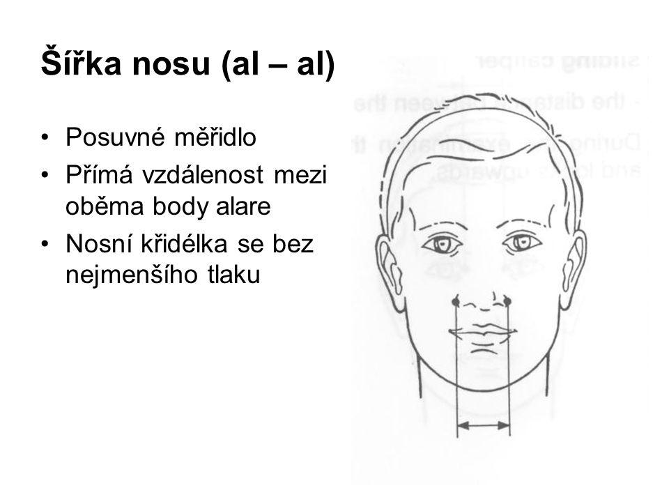 Šířka nosu (al – al) Posuvné měřidlo Přímá vzdálenost mezi oběma body alare Nosní křidélka se bez nejmenšího tlaku