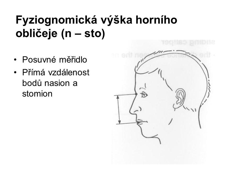 Fyziognomická výška horního obličeje (n – sto) Posuvné měřidlo Přímá vzdálenost bodů nasion a stomion